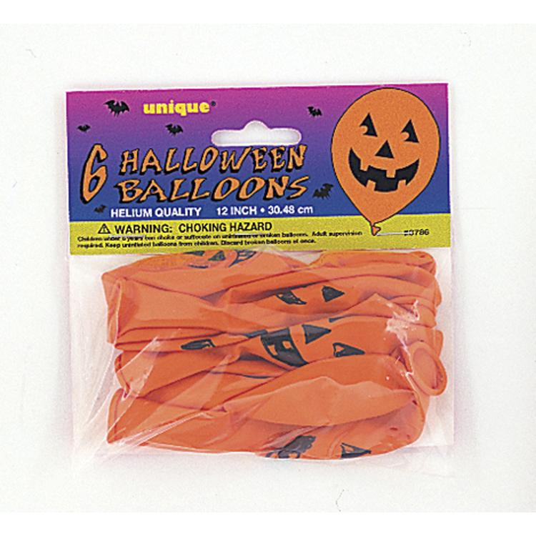 Halloween Pumpkin Latex Balloons (x6)