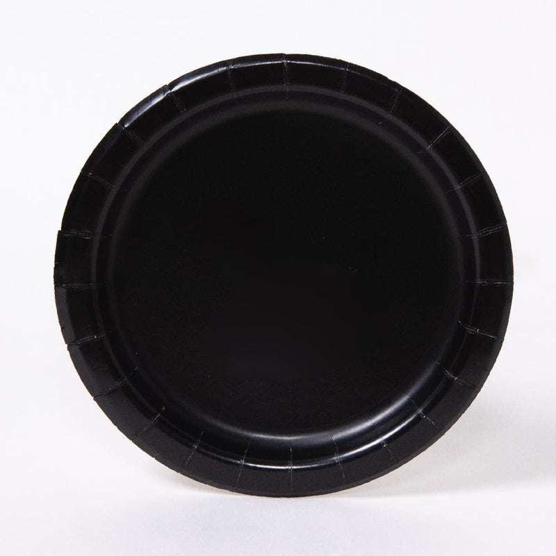 A round black paper party plate