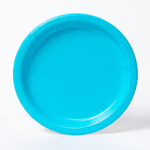 A round paper party plate in a pale blue colour