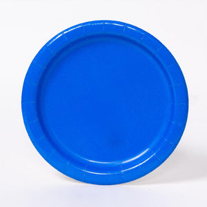 A round paper party plate in a royal blue colour