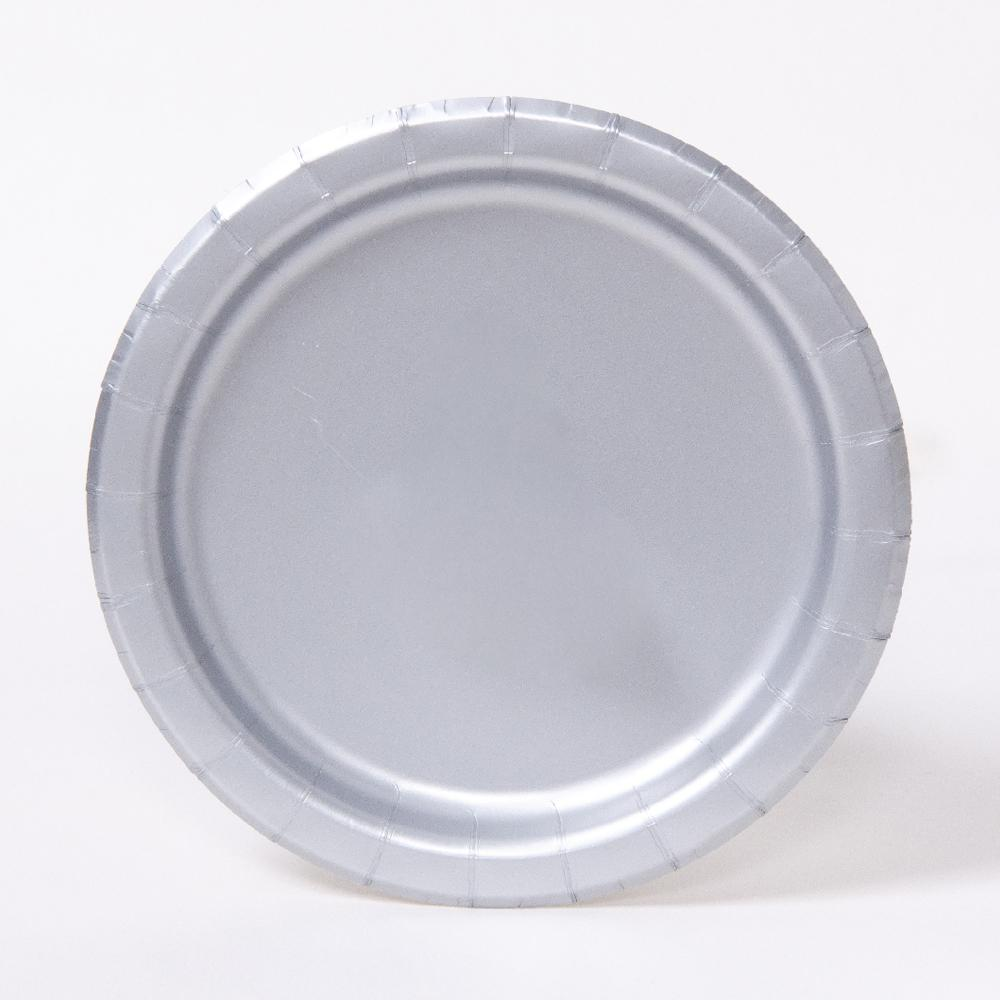 A round paper party plate in a silver colour