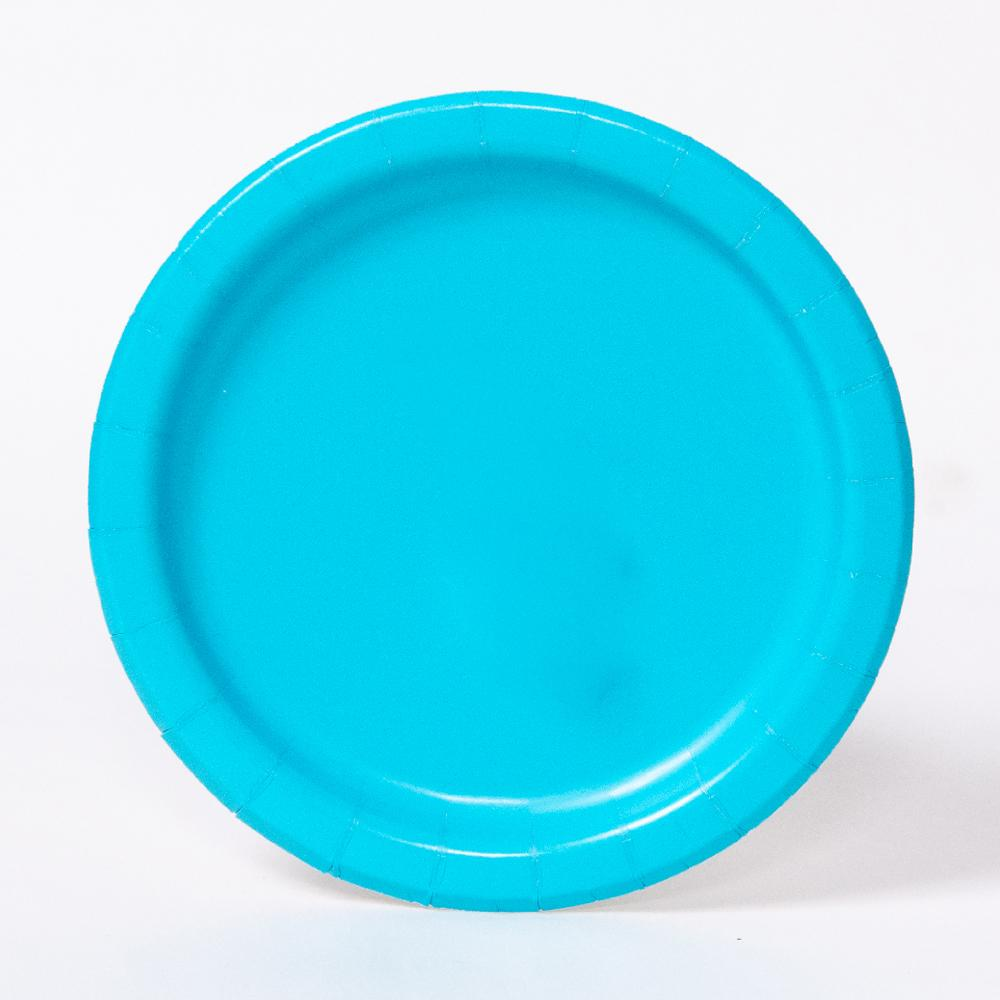 A round paper party plate in a turquoise colour