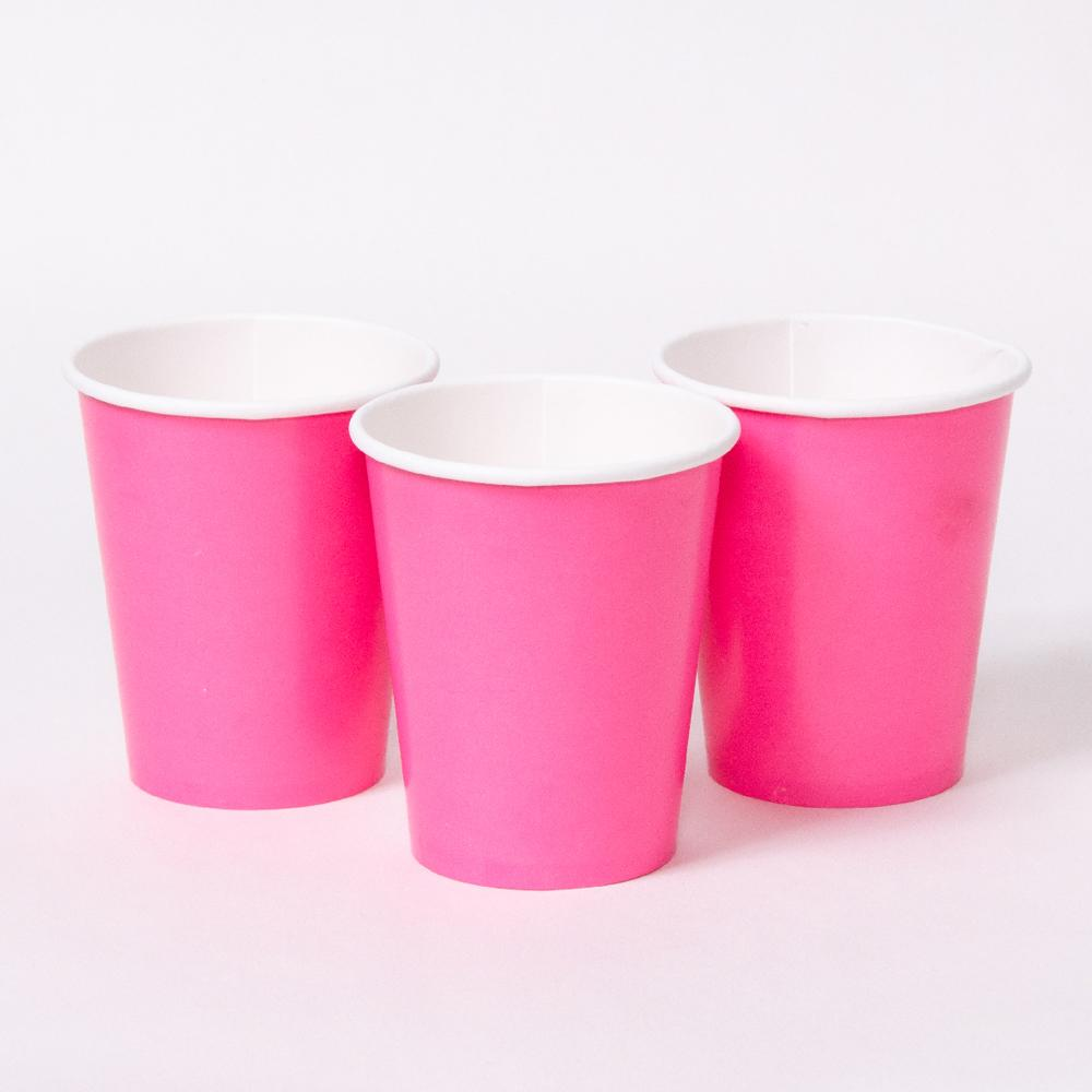 3 pink party cups with white rims