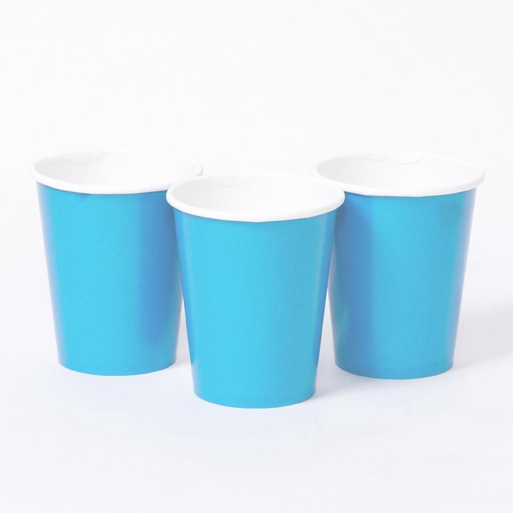 3 pale blue party cups with white rims