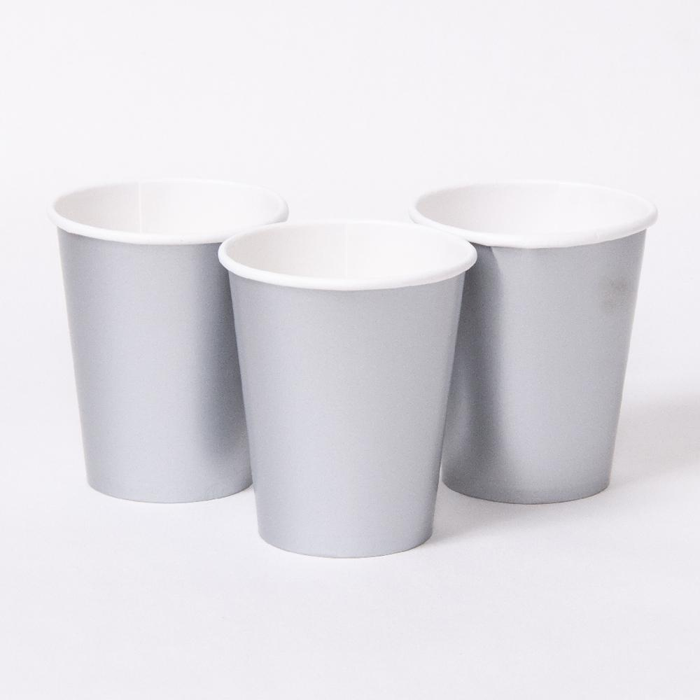 3 matte silver party cups with white rims