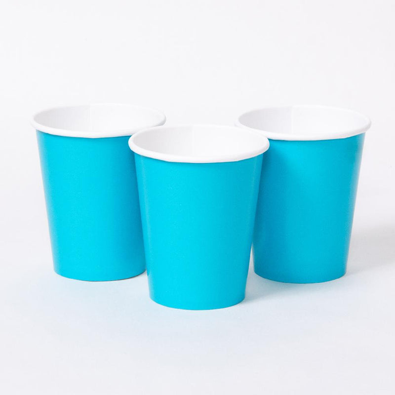 3 turquoise party cups with white rims