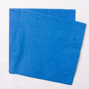 2 royal blue paper party napkins