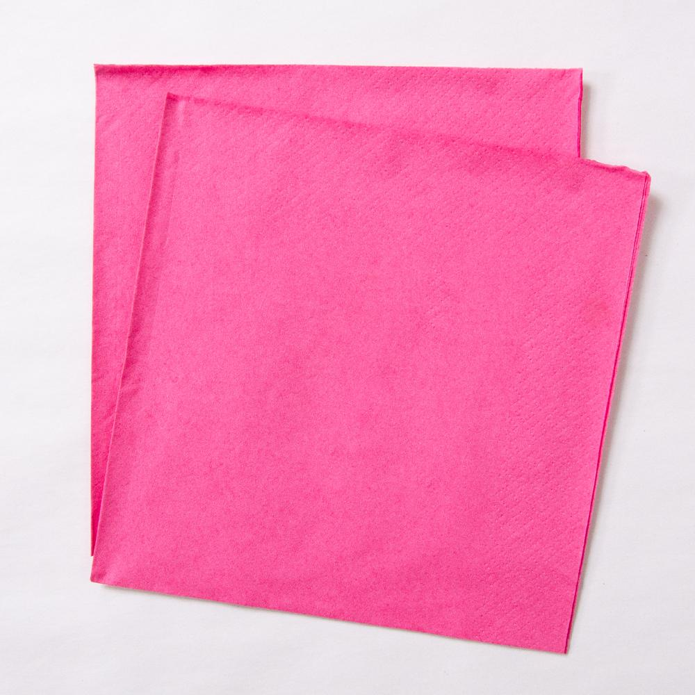 2 bright pink paper party napkins
