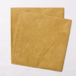 2 gold paper party napkins