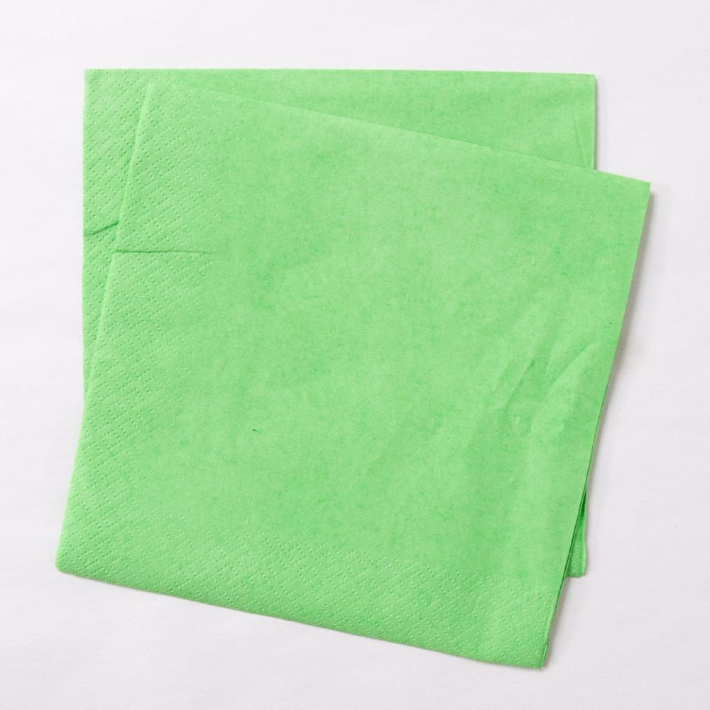 2 green paper party napkins