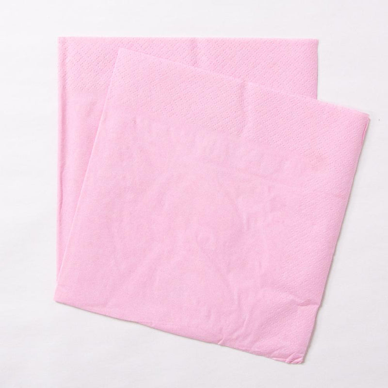 2 pale pink paper party napkins