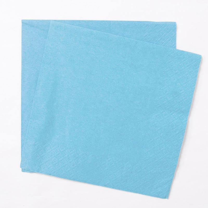 2 pale blue paper party napkins