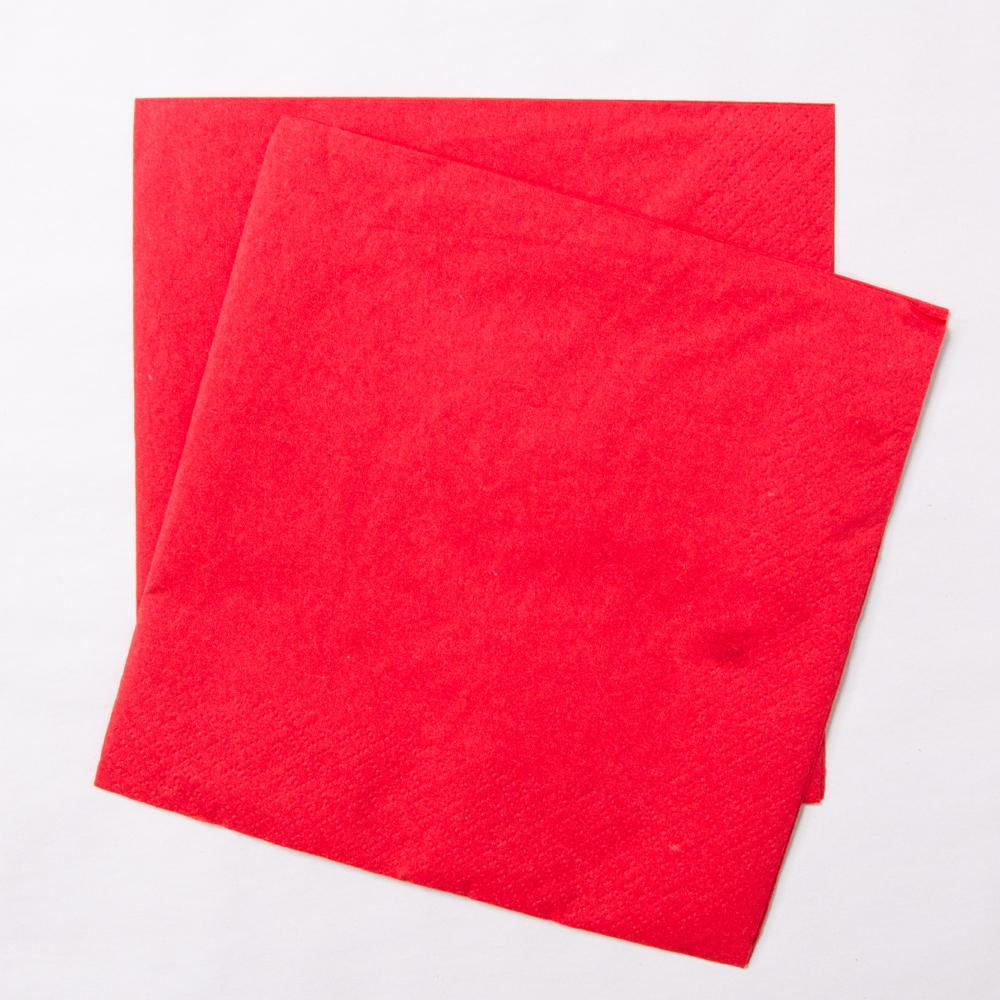 2 red paper party napkins