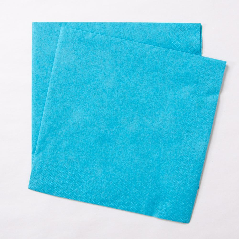 2 turquoise paper party napkins