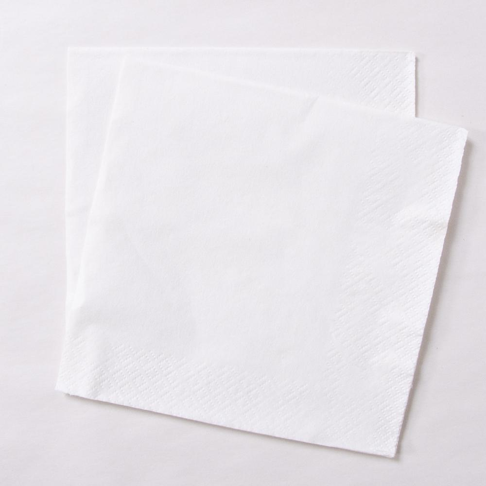 2 white paper party napkins