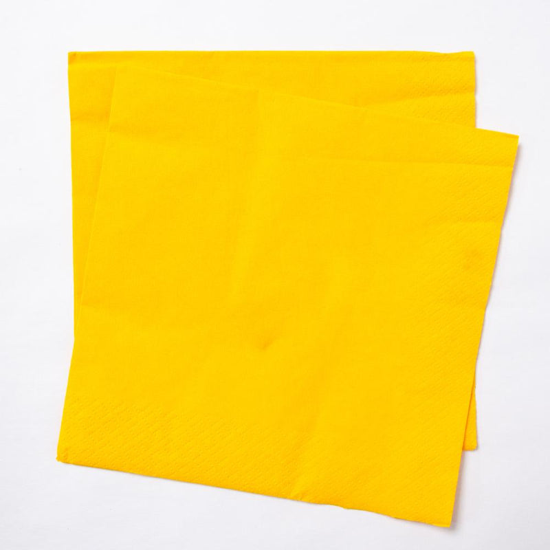2 yellow paper party napkins
