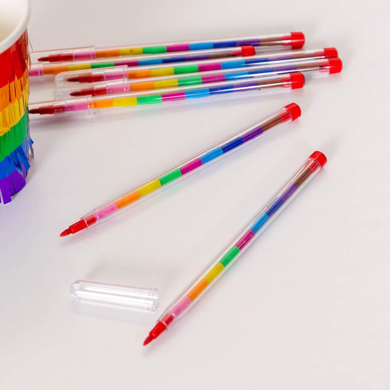 A plastic rainbow pencil with interchangeable nibs