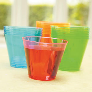 A set of reusable plastic party tumblers in a variety of colours