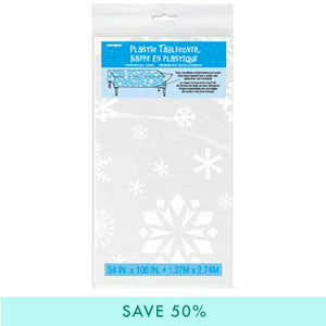 Clear Snowflakes Plastic Table Cover