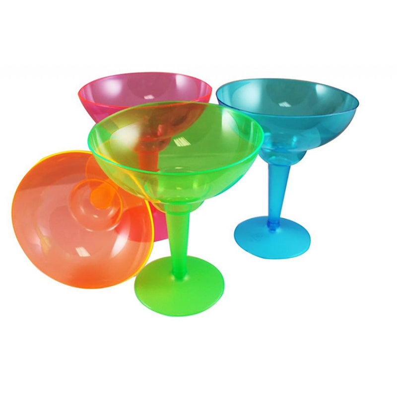 4 transparent, coloured plastic margarita glasses