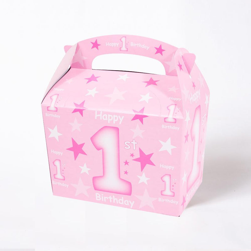1st Birthday Party Boxes Pink (x4)