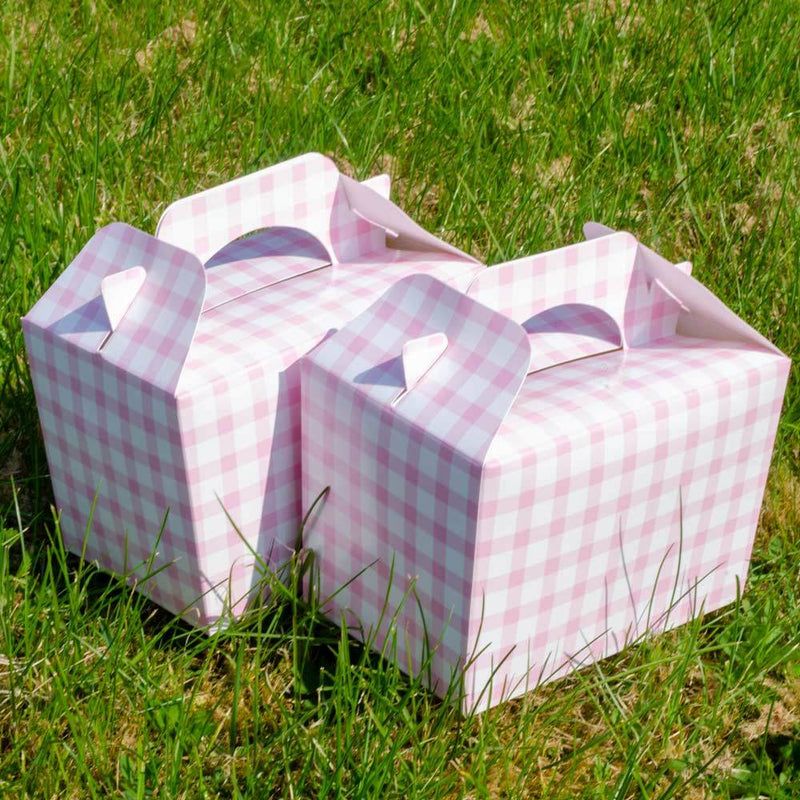 Pink Gingham Party Boxes (x4)