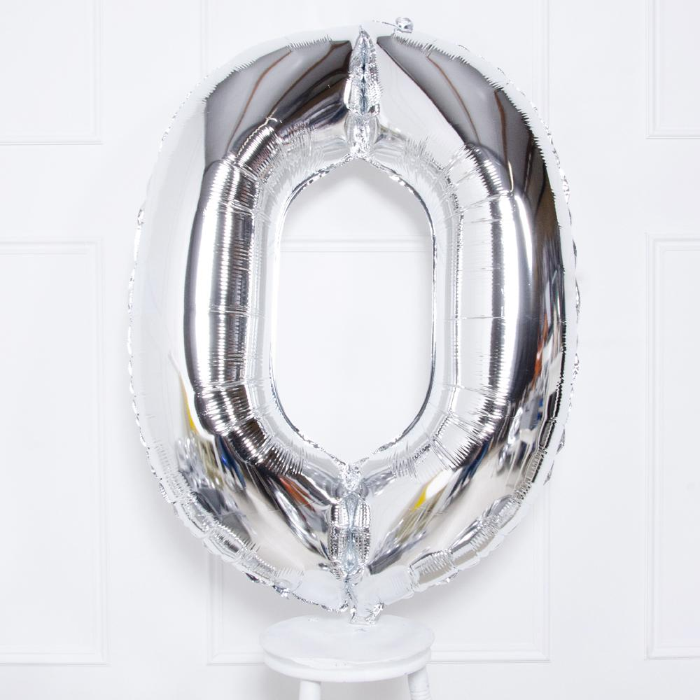 "Supershape Silver 34"" Helium Balloon Number 0"