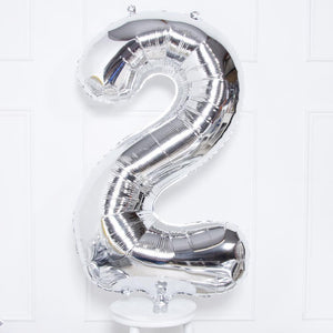 "Supershape Silver 34"" Helium Balloon Number 2"