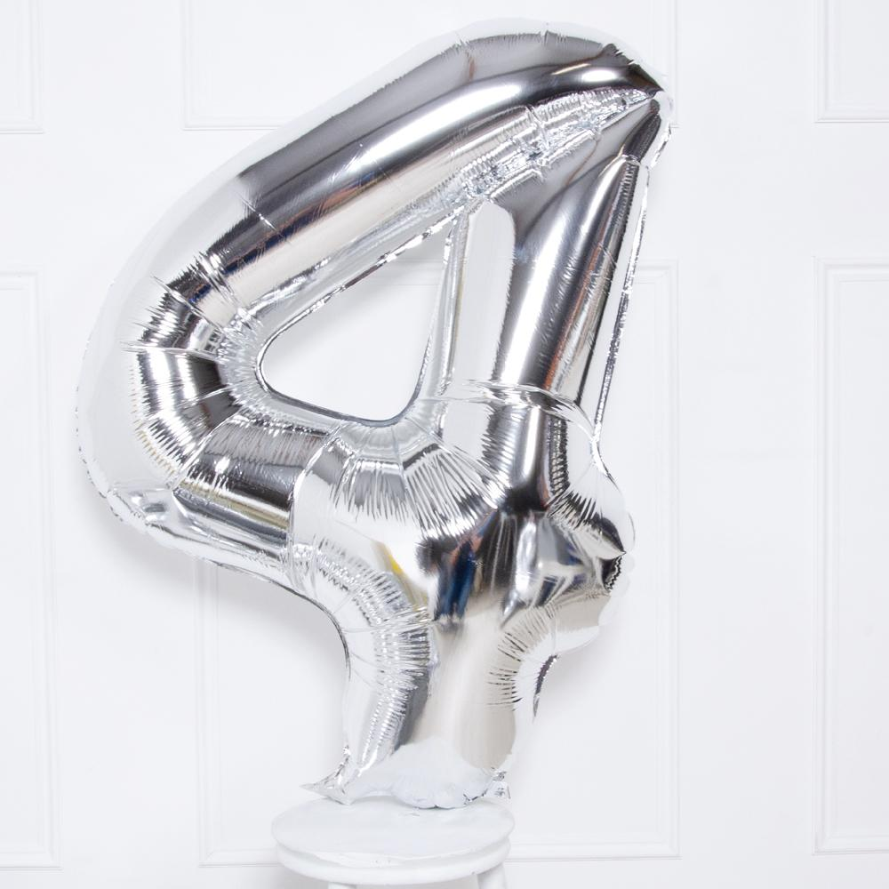"Supershape Silver 34"" Helium Balloon Number 4"