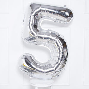 "Supershape Silver 34"" Helium Balloon Number 5"