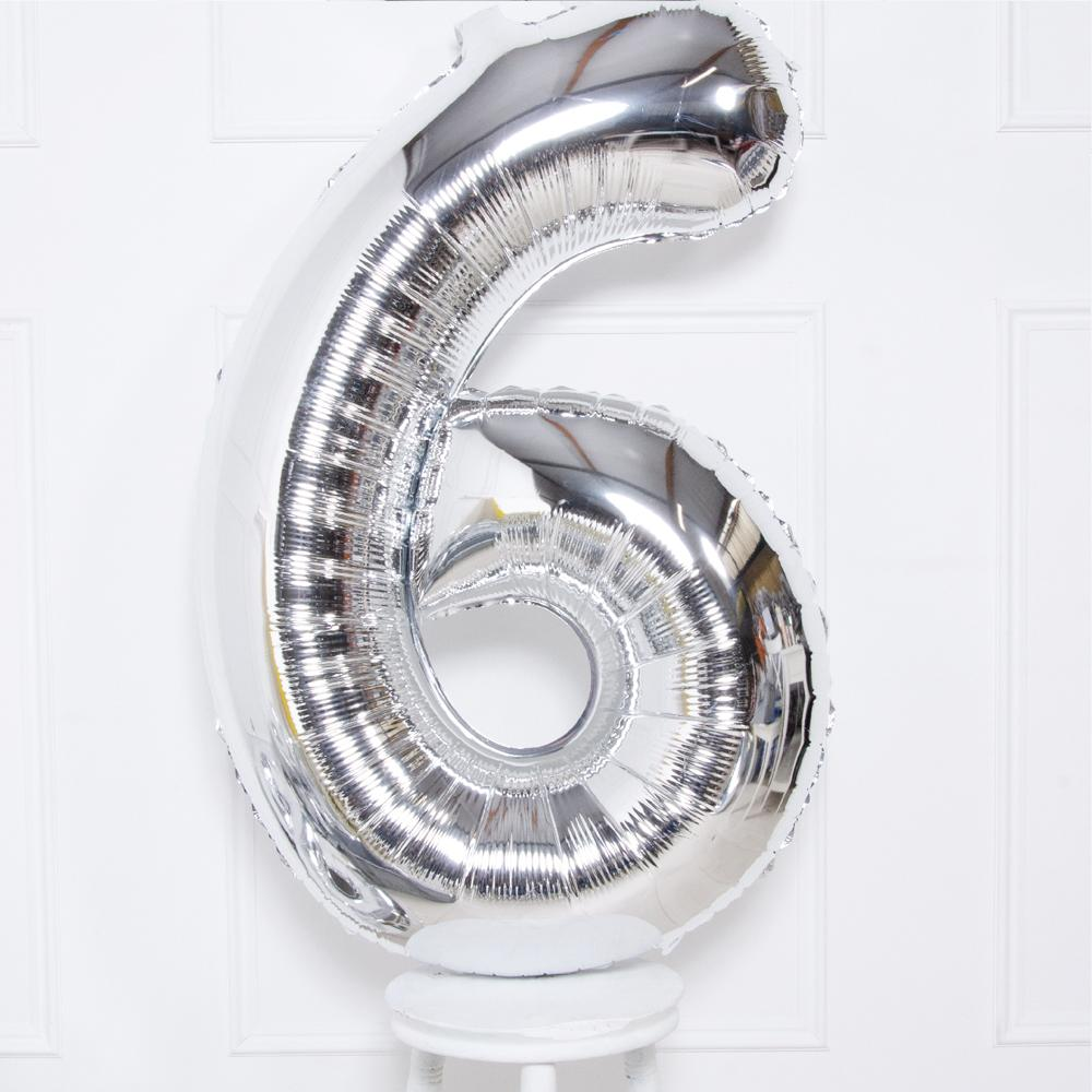 Supershape Silver Helium Balloon Number 6