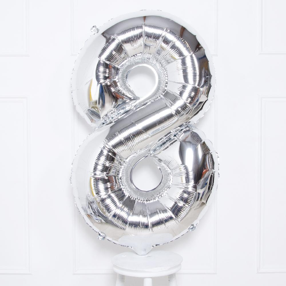 "Supershape Silver 34"" Helium Balloon Number 8"