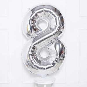 Supershape Silver Helium Balloon Number 8
