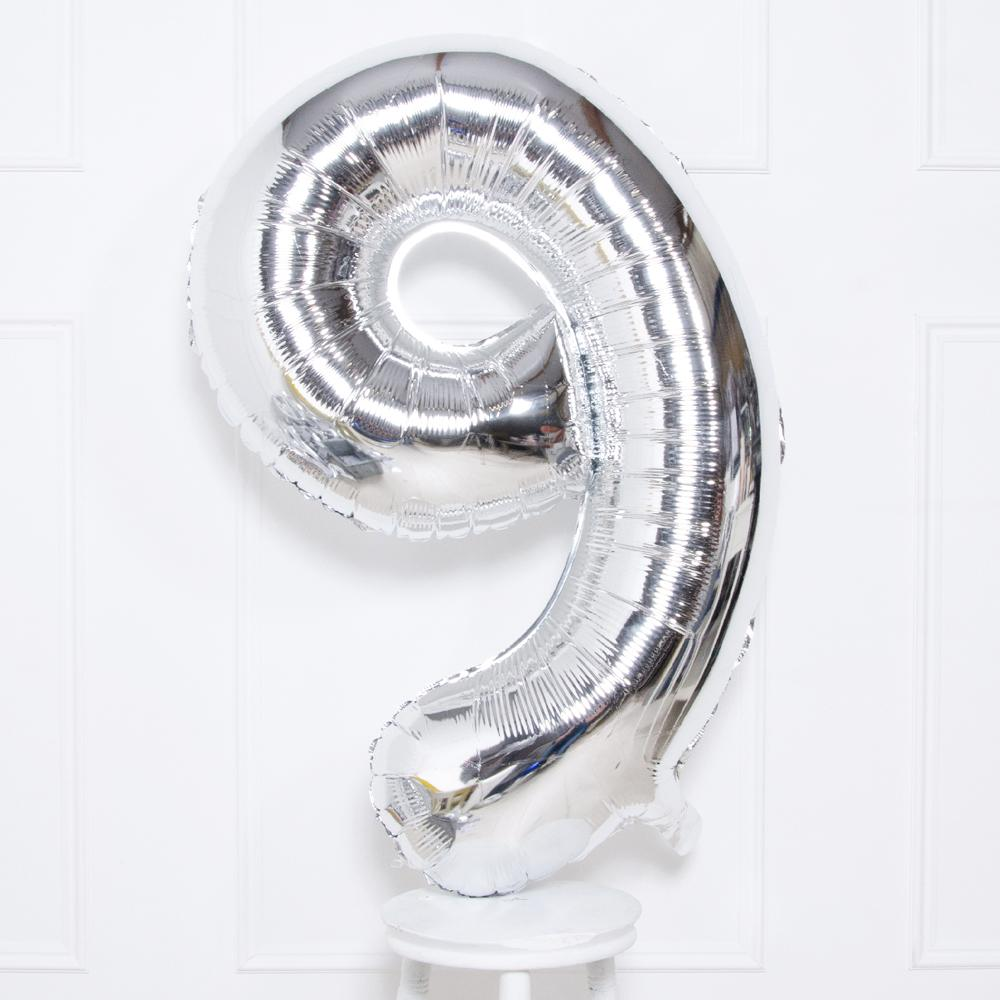 Supershape Silver Helium Balloon Number 9
