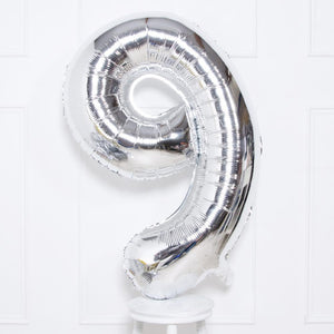 "Supershape Silver 34"" Helium Balloon Number 9"