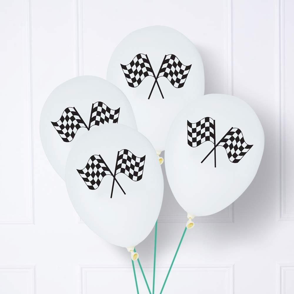 Click to view product details and reviews for Black White Chequered Flag Latex Balloons X6.