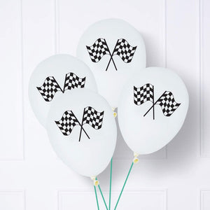 Black & White Chequered Flag Latex Balloons (x6)