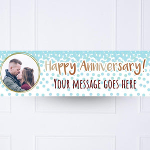 Blue Confetti Anniversary Personalised Party Banner