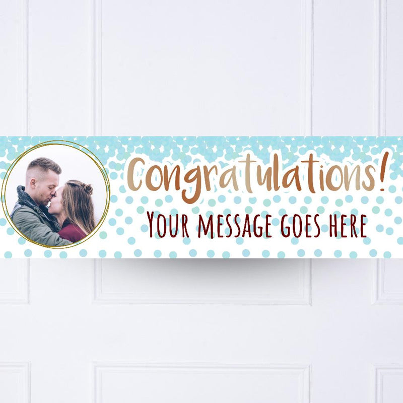 Blue Confetti Congratulations Personalised Party Banner