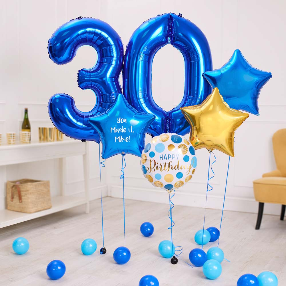 Deluxe Personalised Balloon Bunch - 30th Birthday Blue