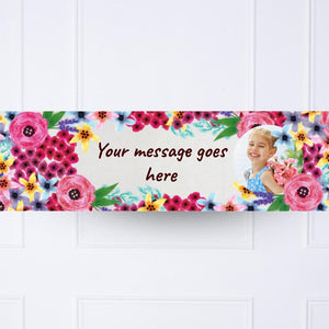 Kids Watercolour Flowers Personalised Party Banner