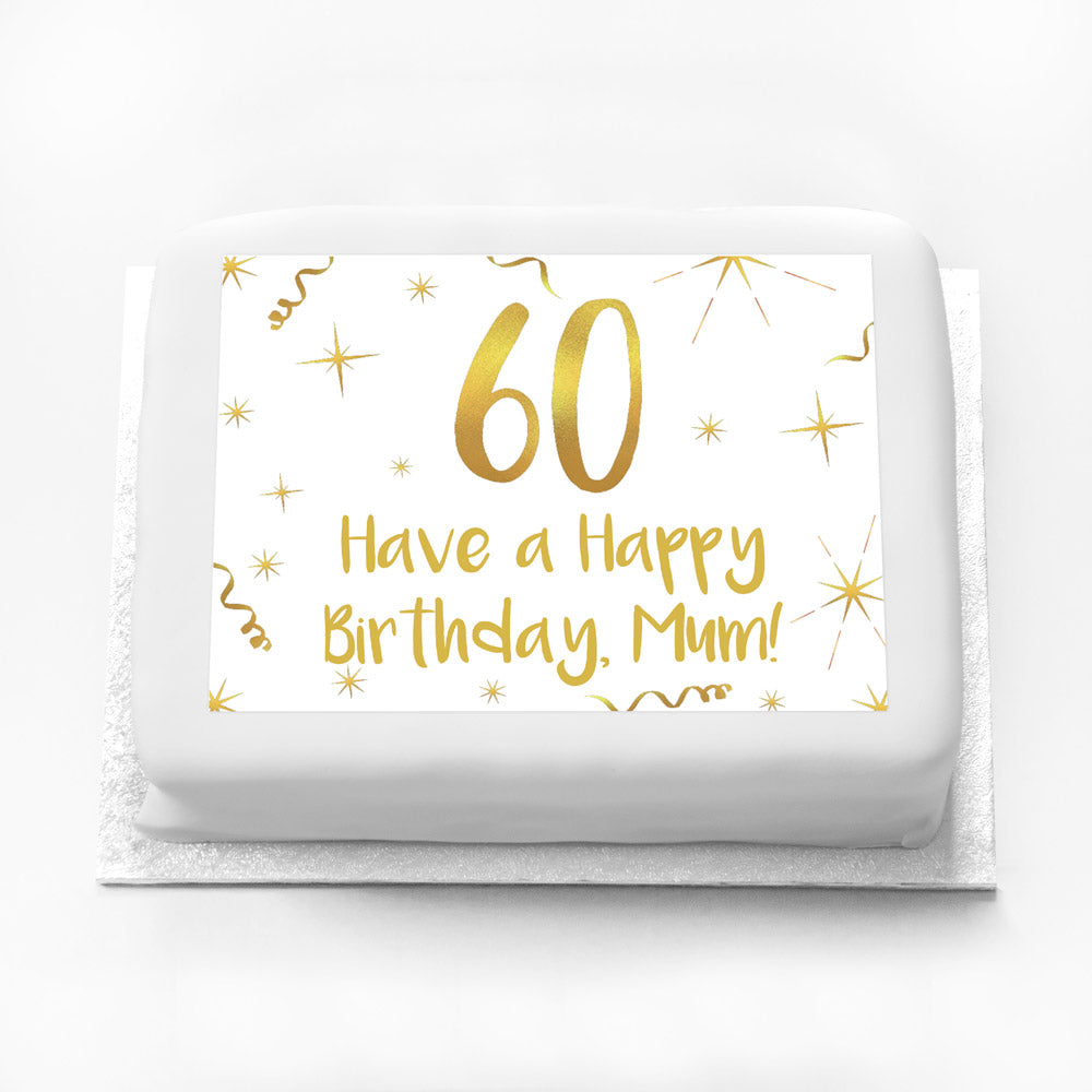 Personalised Photo Cake - White & Gold 60th Birthday