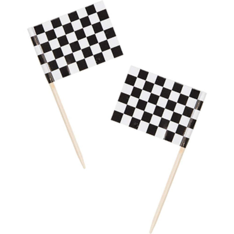 Racing Stripes Chequered Flag Picks (x50)
