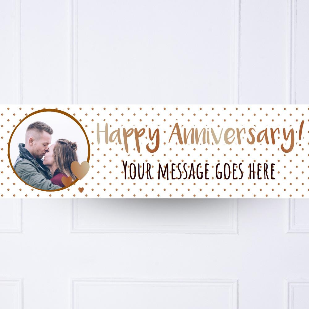 Rose Gold Dots Anniversary Personalised Party Banner