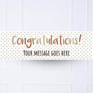 Rose Gold Dots Congratulations Personalised Party Banner