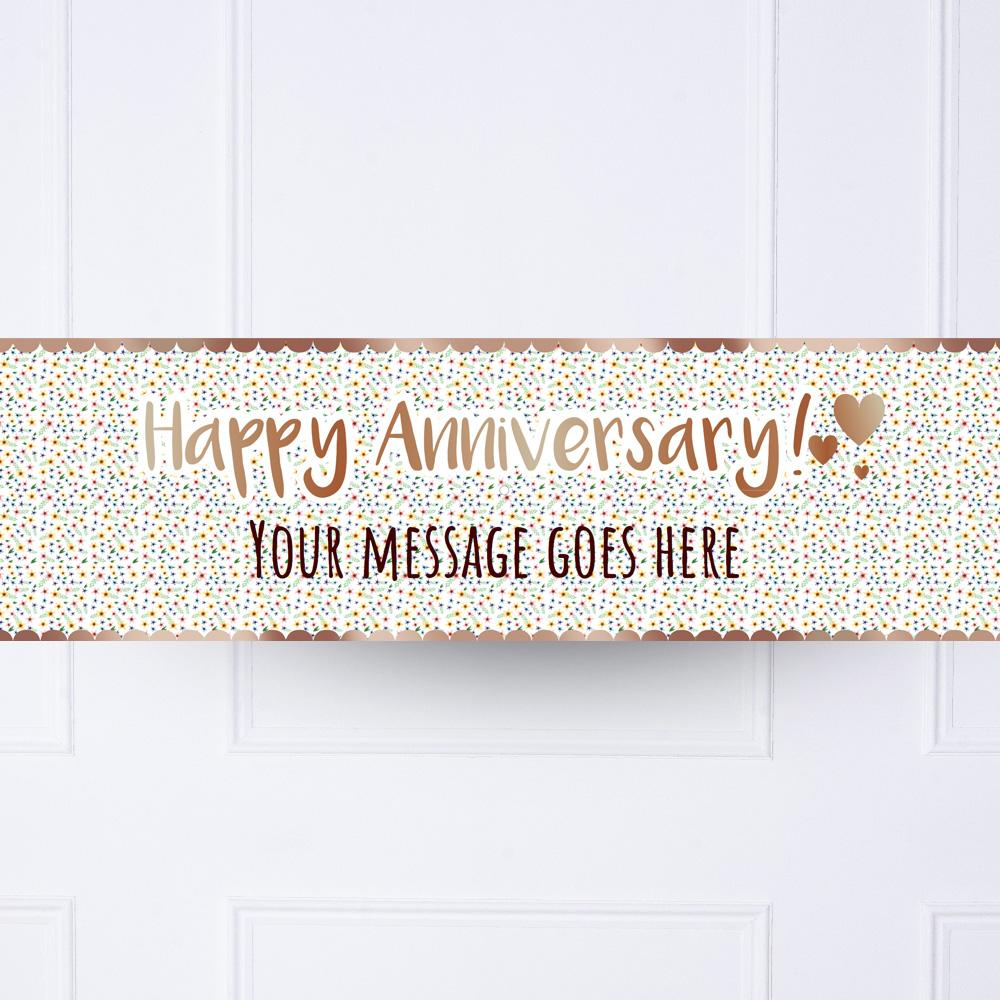 Rose Gold Floral Anniversary Personalised Party Banner