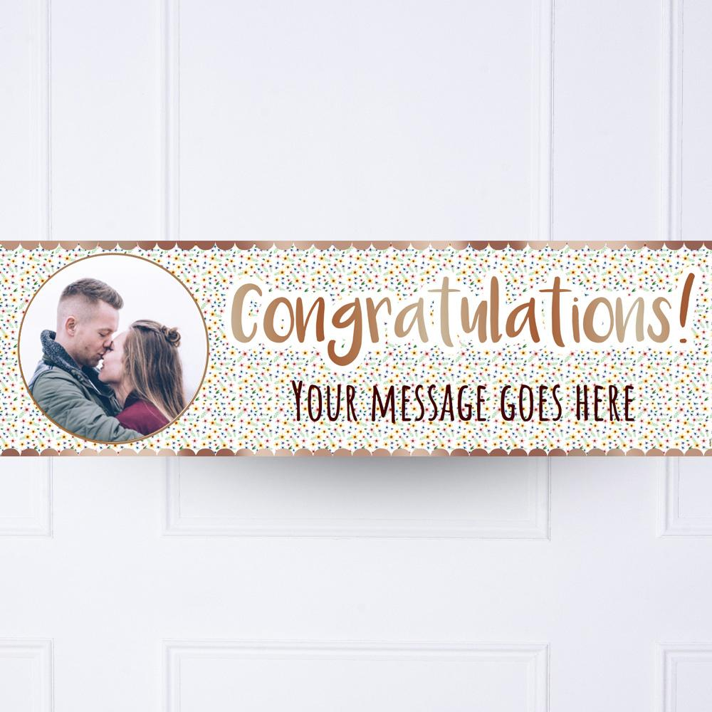 Rose Gold Floral Congratulations Personalised Party Banner