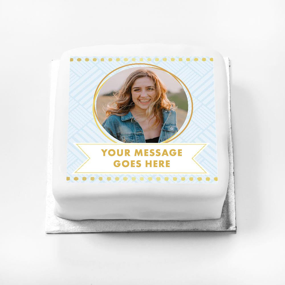 Personalised Message Gift Cake – Blue Pastel