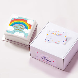 Personalised Message Gift Cake – Rainbow Blue