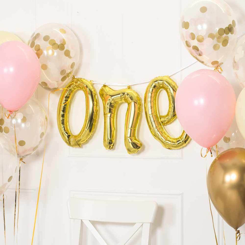 ONE Air Filled Foil Phrase Balloon Bunting Gold (each)